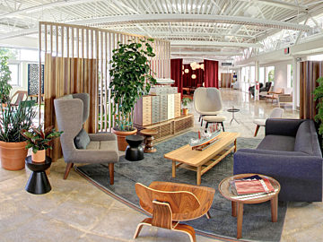 Open, casual space with comtemporary furniture including sofa, lounge chair, occasional tables, and plants for texture.